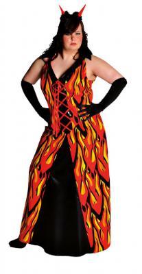 M210130 rot-gelb-schwarz Damen Flammenkleid Teufelkleid - 2