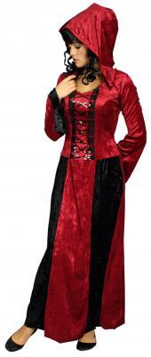 K31250586 rot-schwarz Damen Vampirkleid mit Kapuze - 1
