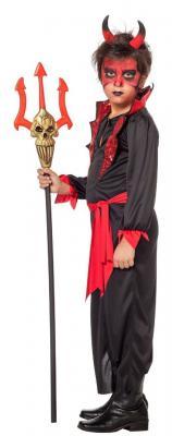W3868 schwarz-rot Kinder Teufel Vampirkostüm - 1