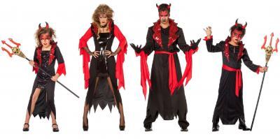 W3869 schwarz-rot Kinder Vampir Teufelkostüm - 3