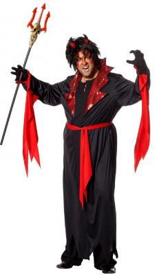 W5869 schwarz-rot Herren Vampirkostüm Teufel - 1