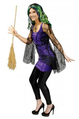 K31250227 schwarz-lila Damen Hexenkleid Halloweenkleid - 1