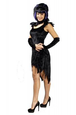 K31250411 schwarz Damen Hexenkleid Halloween - 1