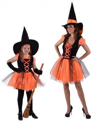 M216136 schwarz-orange Damen Hexenkleid Halloweenkleid - 1