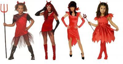 H961-001 rot Kinder Teufelskleid lang Halloweenkleid - 1