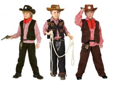 T2872 schwarz-braun Kinder Cowboyanzug Sheriffkostüm - 1