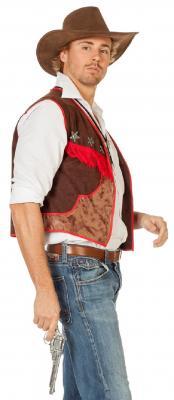 W5354 braun-rot Herren Cowboyweste Trapperweste - 1