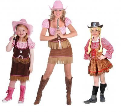Ke02295 braun-rot-weiß-kariert Cowboy Mädchen Cowgirlkleid - 1