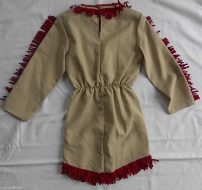 Ke02295 braun-rot Indianer Mädchen Apachenkleid - 1