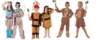 W3894 braun-beige-türkis Kinder Indianer Kostüm Jungen Apache Anzug - 1