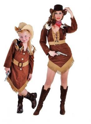M212010 brauntöne Kinder Cowgirl Kleid Western Mädchen - 1