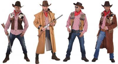 M215234 brauntöne Herren Cowboy Hemd + Cowboy Weste angenäht - 1