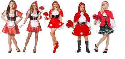 W3284 rot-weiß Kinder Kleid Mädchen Rotkäppchenkostüm - 1