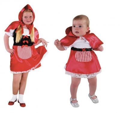 M213011 rot-weiß Baby-Kleinkinder Kostüm Rotkäppchen Kleid - 1