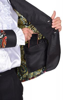 M218287-2 schwarz Herren Anzug Smoking Sakko Hose und Krawatte - 2