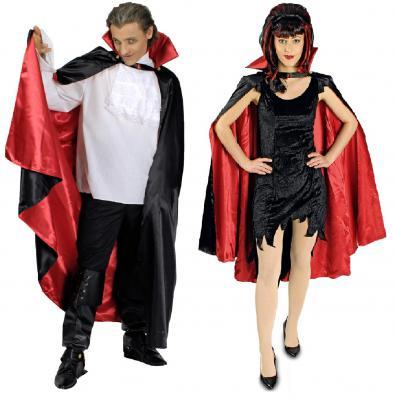 T2723-Länge 110 cm schwarz-rot Damen Herren Vampirumhang Stehkragen Länge 110 cm - 1