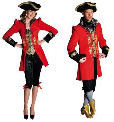 M211136 rot-schwarz Damen Barock Anzug Marquise Kostüm - 1