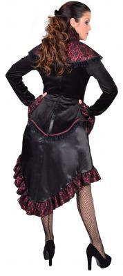 M218122 schwarz-rot Damen Rokoko Steampunk Kleid mit Schulterkragen - 2