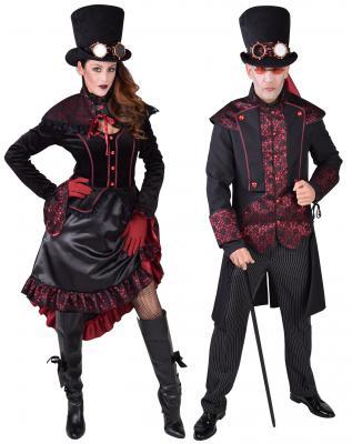 M218122 schwarz-rot Damen Rokoko Steampunk Kleid mit Schulterkragen - 3