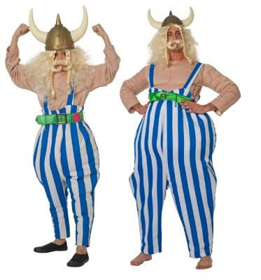 W3592-A Kinder Gallier Hose Wikinger Kostüm Obelix - 1