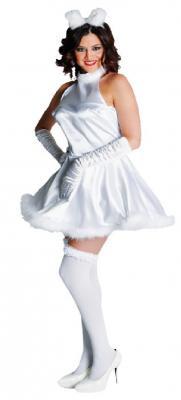 M211114 weiß Damen Engel Kostüm Katze - 1