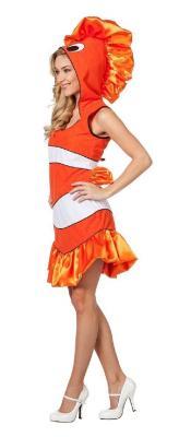 L3202280 orange-weiß Damen Clownfisch Nemo Fisch Kostüm - 1