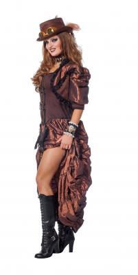 W4403 braun-schwarz Damen Rokoko Steampunk Burlesque Kleid - 1