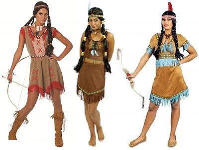 W4711 braun-rot Damen Indianerin Westernkleid - 1