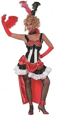W4893 schwarz-rot-weiß Damen Saloonlady Cowgirlkostüm - 1