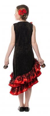 L3100210 schwarz-rot Kinder Mädchen Spanierin Kostüm Flamenco Kleid Seniorita - 1