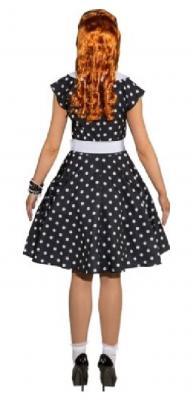 O9215 schwarz-weiß Damen Rockabilly Punktekleid - 1