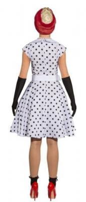 O9089 weiß-schwarz Damen Polka Punktekleid - 1