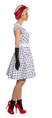 O9089 weiß-schwarz Damen Polka Punktekleid - 2