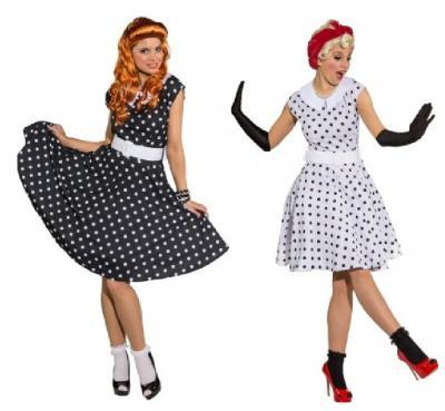 O9089 weiß-schwarz Damen Polka Punktekleid - 3