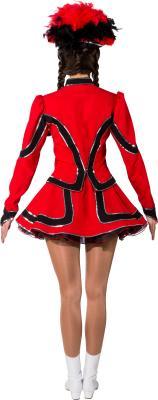 O9853 rot-schwarz mit Silberborte Damen Funkenkostüm Mariechenkostüm - 2