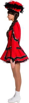 O9853 rot-schwarz mit Silberborte Damen Funkenkostüm Mariechenkostüm - 3