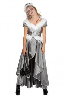 W4462-B silber Damen Rokoko Kostüm Schneekönigin Eisprinzessin - 1