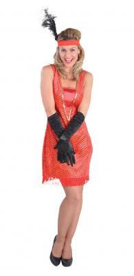 M211130 rot Damen Charleston Kleid Fransen Kleid - 1