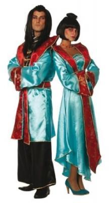 W4641-A türkis-rot Damen Chinesin Chinesen Kostüm Kleid Japanerin Samurai lang - 1