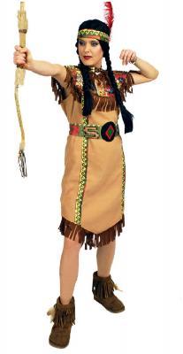 K31250652 braun Damen Indianerin Apachen Kleid - 1