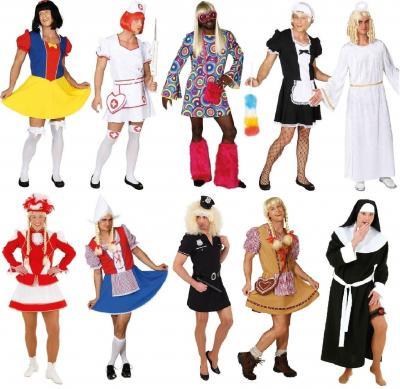O7315 weiß-rot Herren Krankenschwester Kostüm-Kleid Nurse - 1