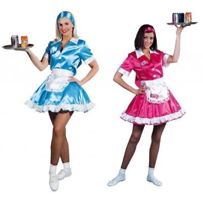 M210112-A blau Damen 50er Jahre Kellnerin Dienstmädchen Kleid - 1