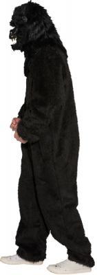 O784 schwarz Damen Herren Plüsch Overall Plüschoverall ohne Affen Maske - 3