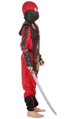 W3386 schwarz-rot Kinder Junge Mädchen Ninja Schwertkämpfer Kostüm - 1
