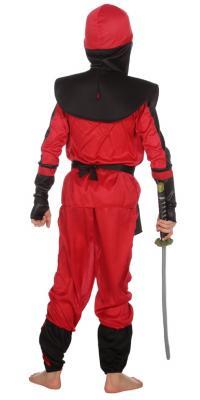 W3386 schwarz-rot Kinder Junge Mädchen Ninja Schwertkämpfer Kostüm - 2