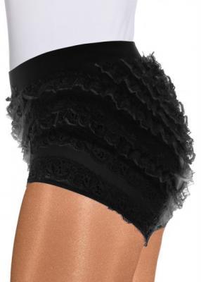 O40067 schwarz Kinder Mädchen Spitzenhose-Rüschenhose für Mariechenkostüm - 1