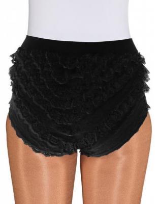 O40067 schwarz Kinder Mädchen Spitzenhose-Rüschenhose für Mariechenkostüm - 2