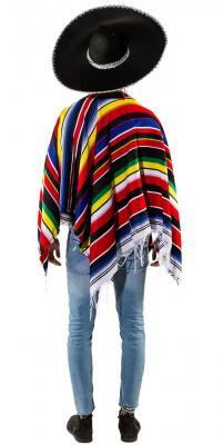 O7421 rot-bunt Damen-Herren Poncho Mexikaner Umhang - 1