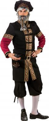 O7376 schwarz-weinrot Herren Burgherren Gutsherren Mittelalter Kostüm - 1