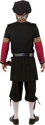 O7376 schwarz-weinrot Herren Burgherren Gutsherren Mittelalter Kostüm - 4